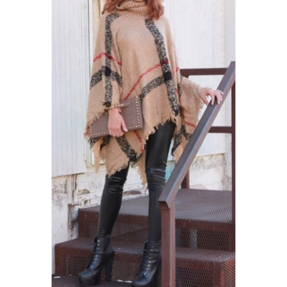 Tan Plaid Turtleneck Sweater Poncho One Size Boutique
