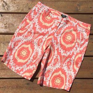 J. Crew Pants - J. Crew Orange Ikat Bermuda Shorts