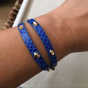 Stella & Dot blue leather wrap bracelet
