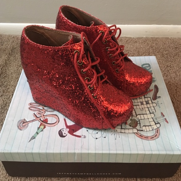 476084bf594d Jeffrey Campbell Shoes | 99 Tie Red Glitter Wedge | Poshmark