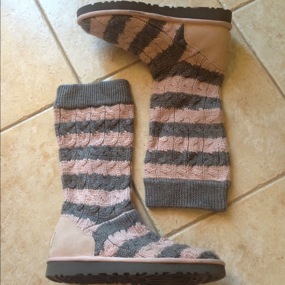 Grey and Pink Striped Knit Uggs!