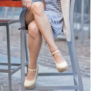 susi Shoes - Cream Mary Jane canvas wedges