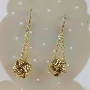 DYTt3 Gold ball dangle hook earrings