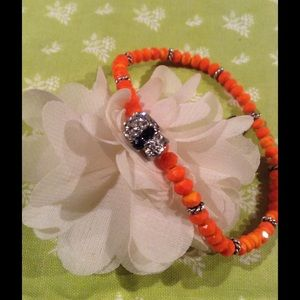 Handmade by Me Jewelry - skull and neon orange glass crystal bead bracelet