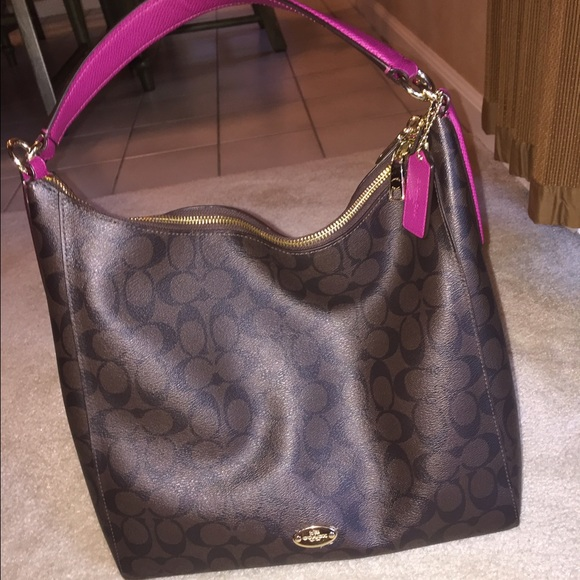 e9be1ac2b301 Coach Handbags - COACH signature leather brown bag with pink strap
