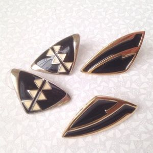 trifari gold and black vintage post earrings