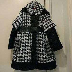 Catimini size 3 wool coat, black, silver, hood