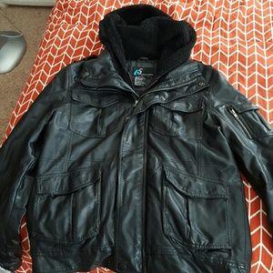 Jackets & Blazers - Mens Black leather jacket with hood