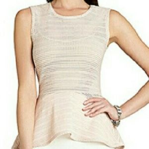 BCBG PERFORATED PINK PEPLUM TOP
