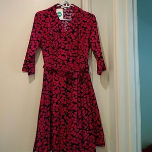 New Boden 6P shirt dress 3/4 sleeves magenta