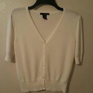 Willi Smith Sweaters - Last Call Donating Cream Cardigan Short Sleeve
