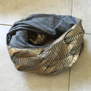 Gold Metallic Foil Jersey Snood Infinty Scarf
