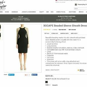 Xscape Dresses & Skirts - XSCAPE Beaded Sleeve Sheath Dress