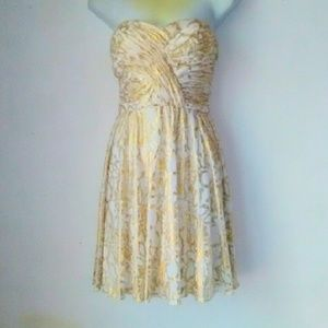 Hailey Logan Dresses & Skirts - Adrianna Papell Strapless Gold in White Dress