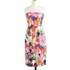 J. Crew Silk Strapless Garden Dress