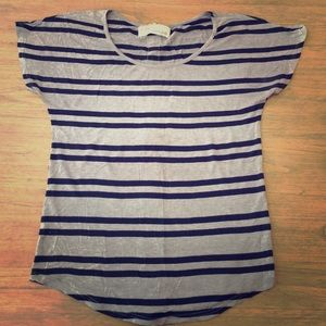 Vintage Havana Tops - Grey/navy stripped shirt w/ neon zipper