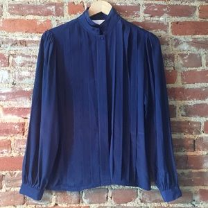 vintage navy pleated front blouse