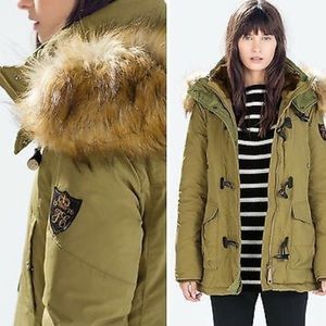 New Zara Puffer Parka with Toggles