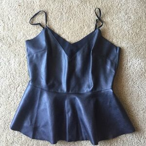 Forever 21 Black leather peplum top