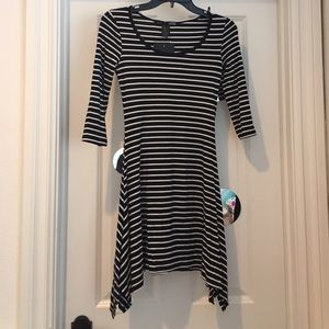 3/4-Sleeve Black and White Striped Dress