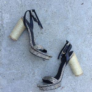 Snakeprint ankle strap sandal espadrille heels