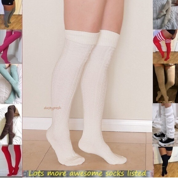 e85f940dad6b5 HUE Accessories | Thigh High Over The Knee Socks White Blue Burgundy ...