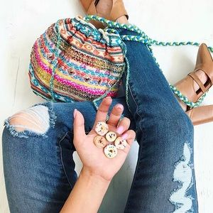 Multicolor Gypsy puff crossbody