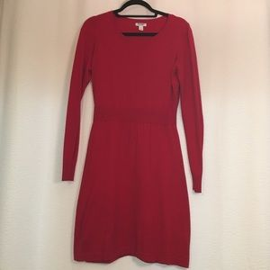  Old Navy Red Ribbed Waist Sweater Dress