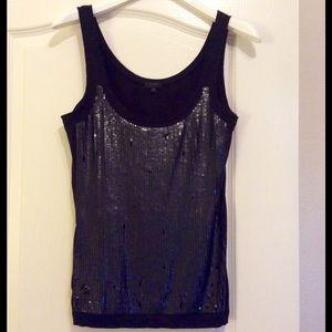 J Crew BLACK Tissue Sequin Embellished Tank Top