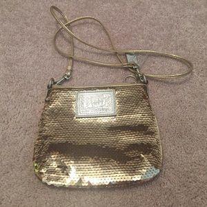 Coach Handbags - Gold sequined coach cross body bag