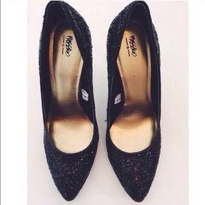 mossimo black glitter heels