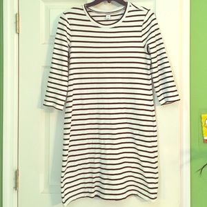 Quarter sleeve, striped sheath dress