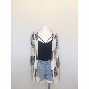 Cream + Black Hooded Open Sweater
