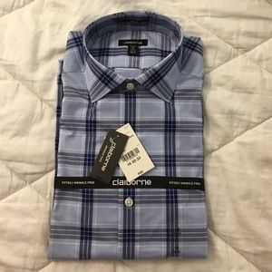 Claiborne Other - NEW Men's Fitted Blue & White Plaid Dress Shirt