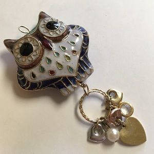 Vintage Jewelry - Cloisonné Owl Pendant with Charms