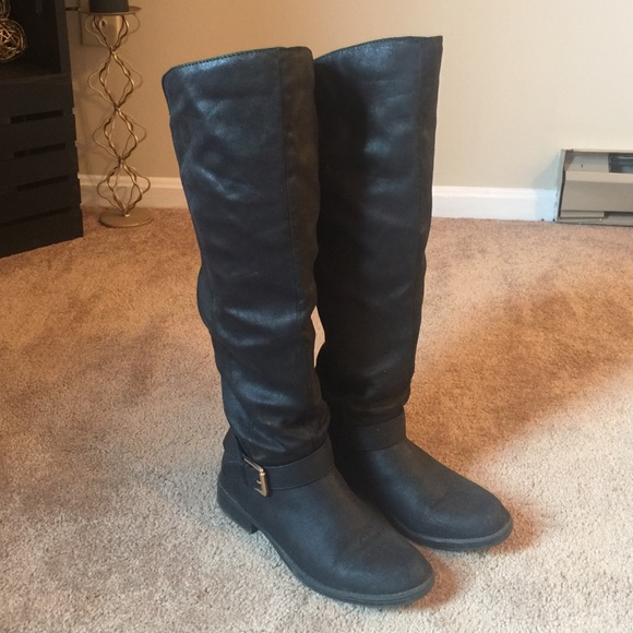 60 justfab shoes justfab black knee high boots from