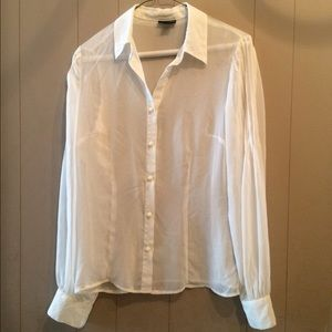 Sheer white long sleeve blouse
