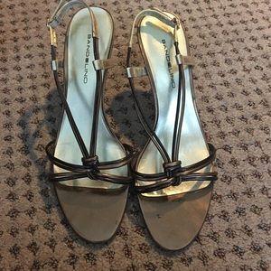 Bandolino Shoes - STRAPPY GOLD KITTEN HEELS