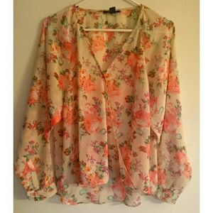 NWOT Sheer floral mock wrap top