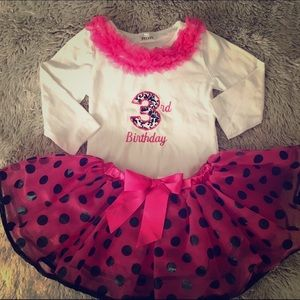 Other - 3rd Birthday Top w Pink Ruffles