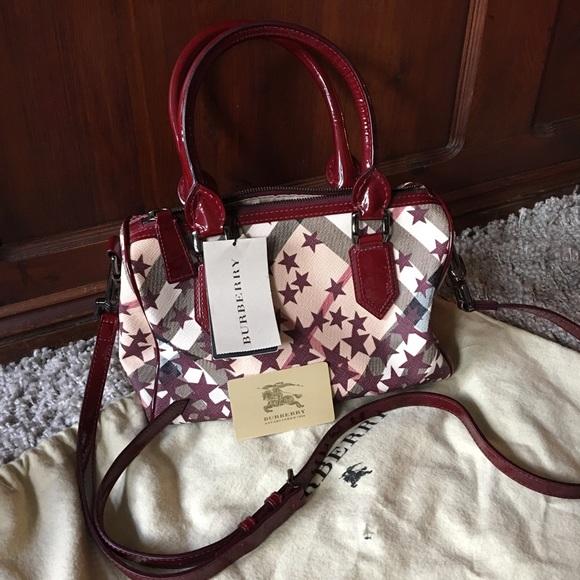 c7bd1fcf1474 Authentic Burberry Nova check Star Red Bowler bag