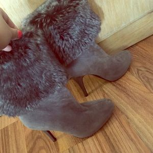 Convertible Fur Ankle booties/ half calf boots