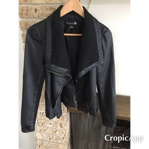 Jackets & Blazers - Cotton mix moto biker jacket with drape lapel