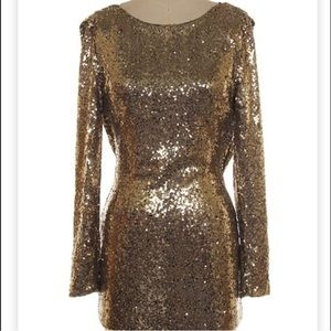 Dresses & Skirts - PARTY COLLECTION | L/S Draped Back Sequin Dress