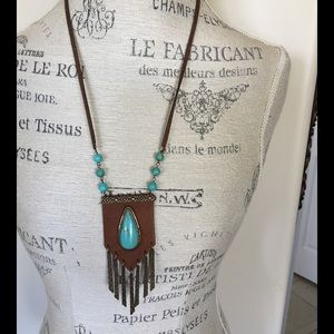 Leather & faux Turquoise Necklace