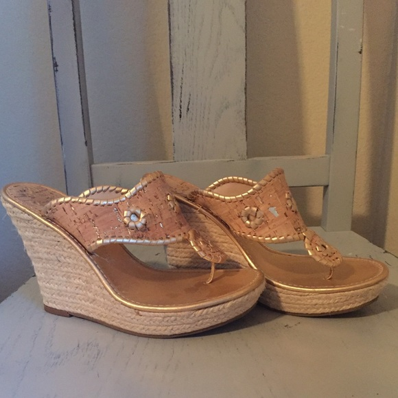 b3fe8f5f417e Jack Rogers Shoes - Jack Rogers gold cork   rope wedges 8