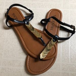 Black Flat Sandals with Gold Chevron