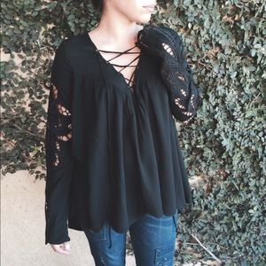 Black embroidered lace up top