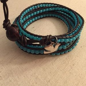 Brown Leather Wrap Bracelet - Turquoise
