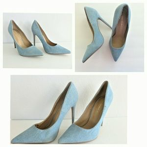 Shoe Republic LA light denim pointed toe heels 9